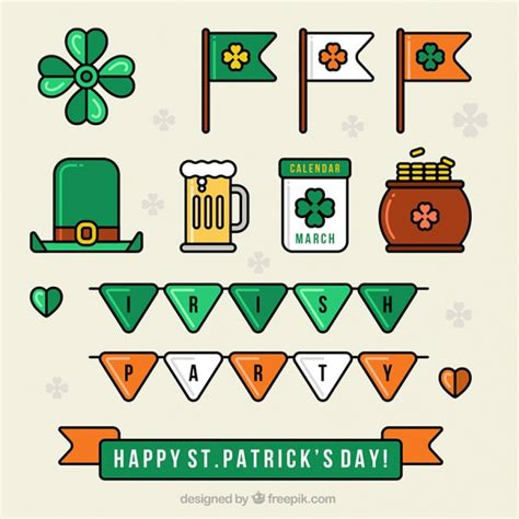 st s day items flat collection of decorative st s day items vector free