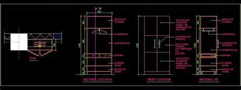 small wardrobe design autocad dwg plan design