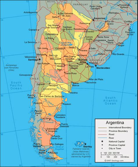 argentina political map argentina map and satellite image