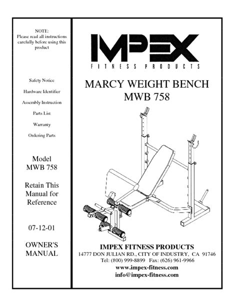 marcy mwb 850 weight bench home gym users guides quot home gym quot page 116