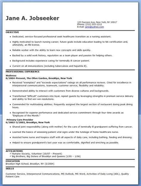 resume template for nursing assistant nursing resume template