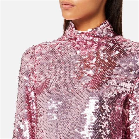 Higneck Korea Pink msgm s sequin high neck top pink free uk delivery 163 50