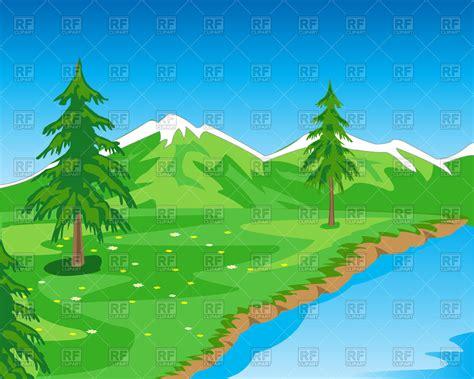mountain clipart beautiful mountain landscape with seashore free vector