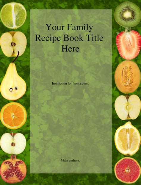 recipe book cover templates our family cookbook in memory