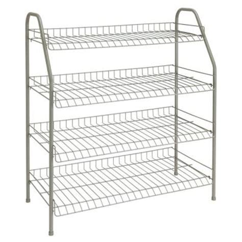closetmaid 28 in 12 pair 4 tier nickel floor shoe rack