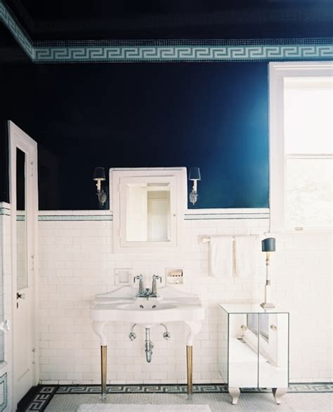 navy bathroom tiles greek key trim contemporary bathroom benjamin moore