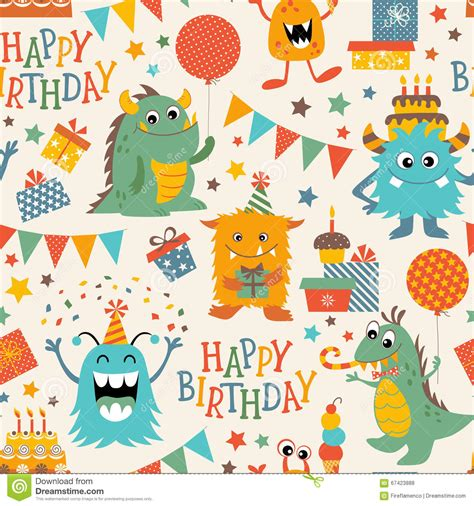 pattern birthday cute birthday monsters pattern stock vector image of seamless