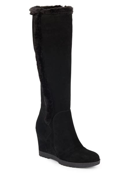 aquatalia curran faux fur trimmed suede wedge boots