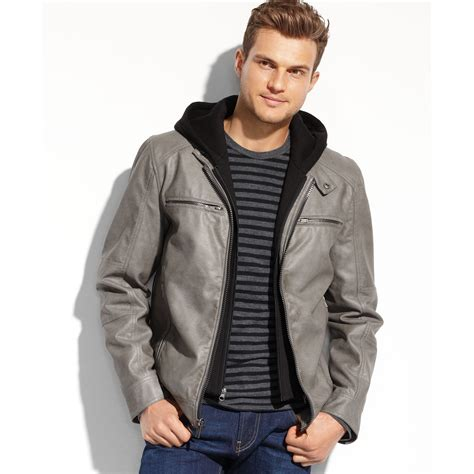 Jaket Hondie Guees guess faux leather hooded moto jacket in gray for black lyst