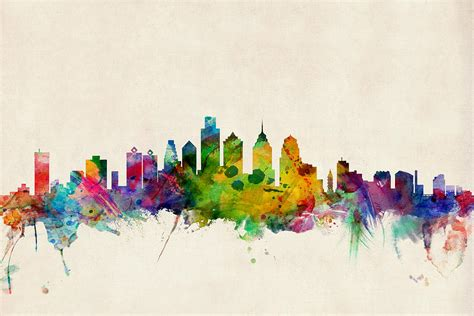 philadelphia skyline digital art by michael tompsett