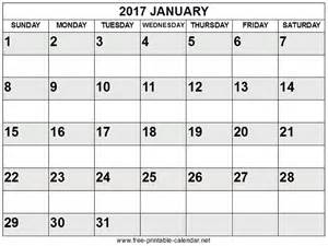 Free printable january calendar 2017