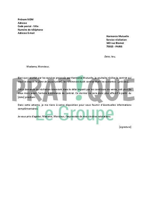 Résiliation De Mutuelle Lettre Lettre De R 233 Siliation Harmonie Mutuelle Pratique Fr