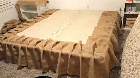 burlap bed skirt ourcozycottage diy no sew burlap bedskirt tutorial