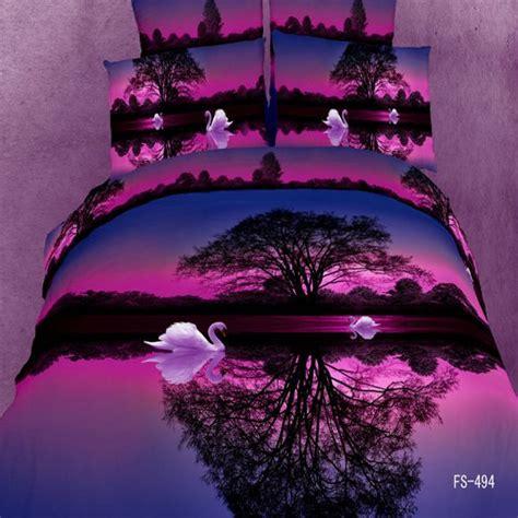 Sprei Set Swan In Violet King Size Ukuran 180 X 200 1 3d animal painting swan sunset purple bedding set luxury 4pcs quilt duvet cover king