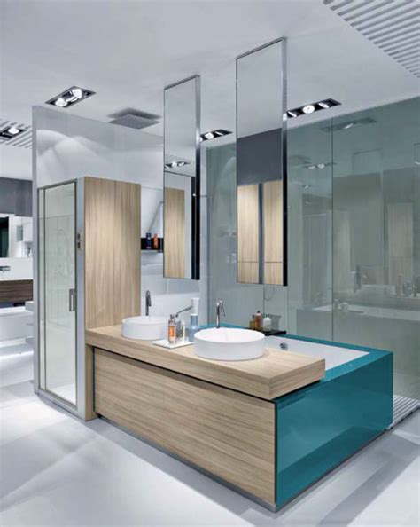 ceiling mounted minimalist mirrors modern bathroom