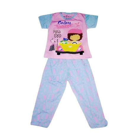 Baju Tidur Anak Piyama Anak Motif Cloud Blue jual nayshop motif girlie baju tidur anak perempuan blue