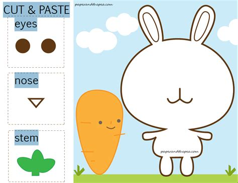 printable toddler cutting activities bunny carrot cut and paste free worksheet paper and the