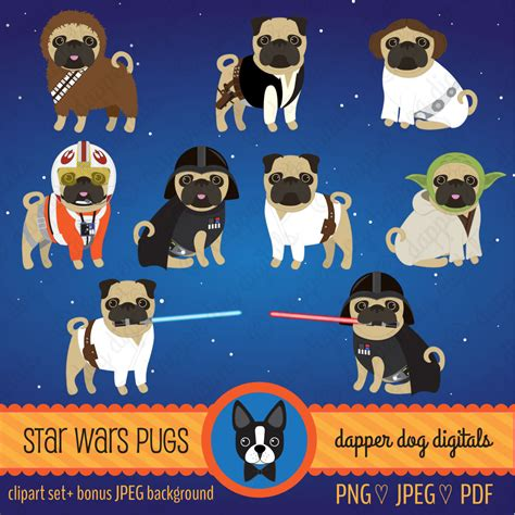pug commercial pug clipart wars set commercial use vector images
