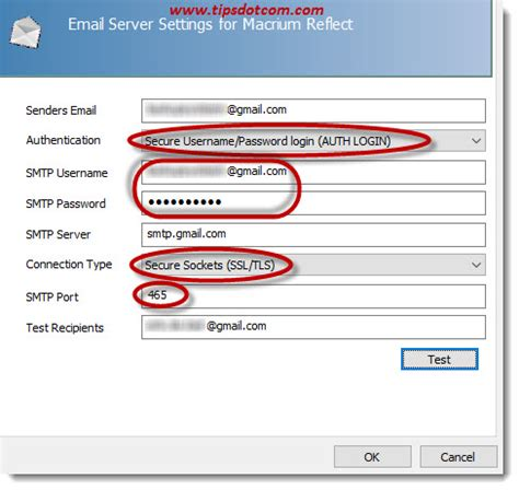 gmail port in the smtp server field i entered google s smtp server