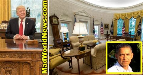 trump redecorates oval office trump redecorates after obama trashes oval office adds 1