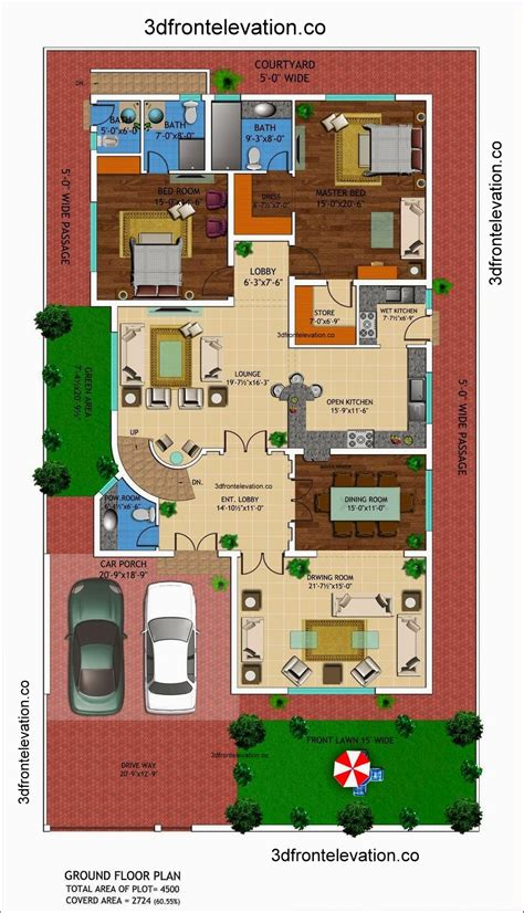 3d front elevation 1 kanal house drawing floor
