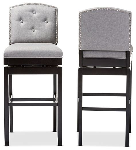 tufted bar stools nunez button tufted swivel stools set of 2 contemporary