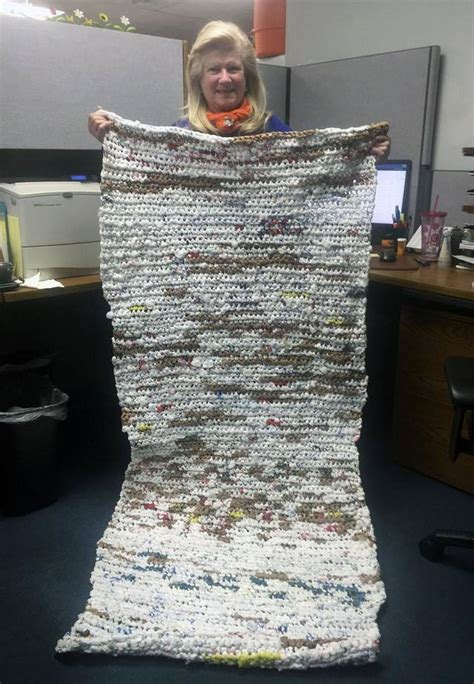 Mats From Plastic Bags - hours of crocheting plastic bags to become a sleeping mats