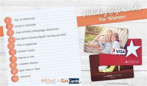 Top Gift Card Sites - the top 5 holiday gift cards for women gift card girlfriend