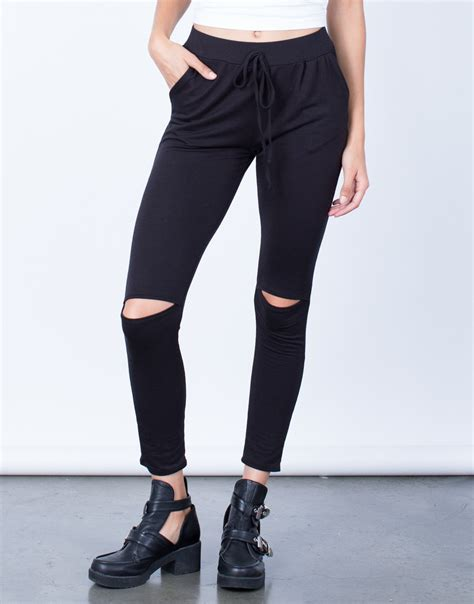 Ripped Jogger ripped knee jogger lightweight jogger