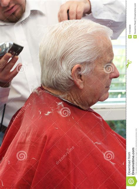 which day senior citizen haircut at cuts grandpa gets a haircut stock image image of retirement