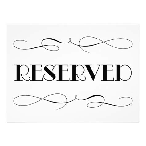 Reserved Signs For Wedding - Room Reserved Template Calendar ...