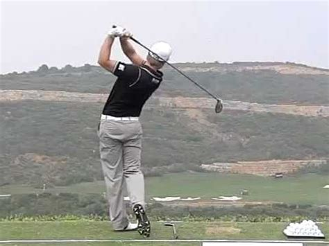 slow motion golf swing down the line tom lewis driver golf swing in slow motion down the