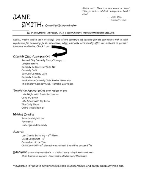 Comedian Sle Resume comedy writer resume format 28 images write my essay comedy resume sle sports management