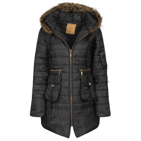 Hooded Trench Jacket parka hooded padded jacket womens faux fur zip
