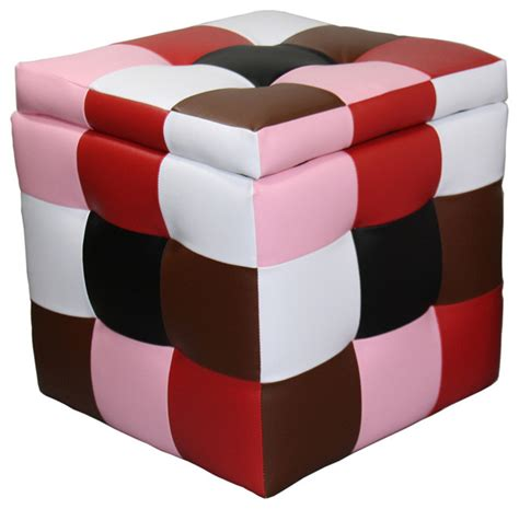 Colored Ottomans With Storage 16 Inch Color Block Storage Ottoman With One Seating Multi Colored Contemporary Footstools