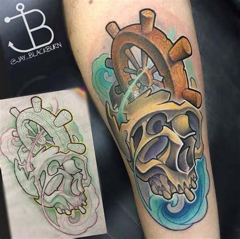 New School Ship Tattoo | new school skull and shipwheel by jay blackburn tattoonow
