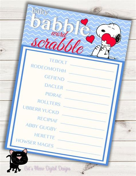 Scrabble Baby Shower by Snoopy Baby Shower Word Scrabble Printable Instant