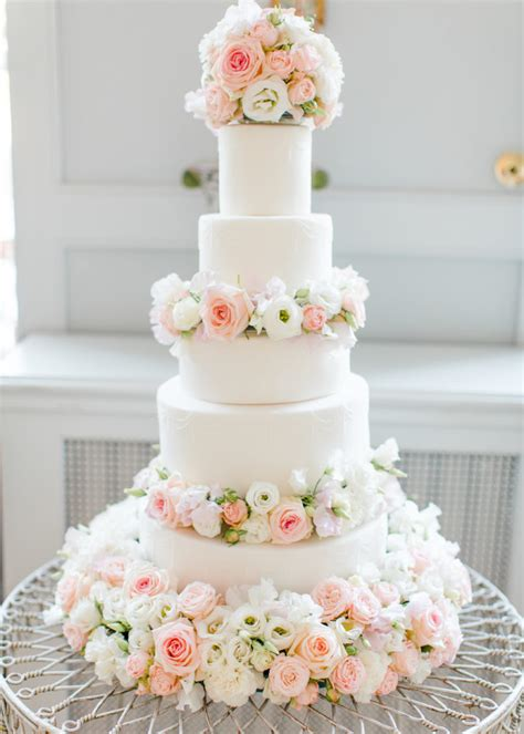 Fresh Flower Wedding Cake by Cherie Dusty Pink And White Fresh Flowers Floral