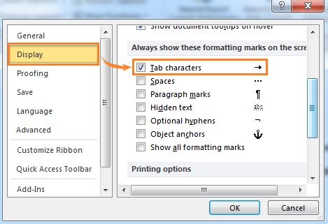 word hide layout characters how to show or hide tab characters in word