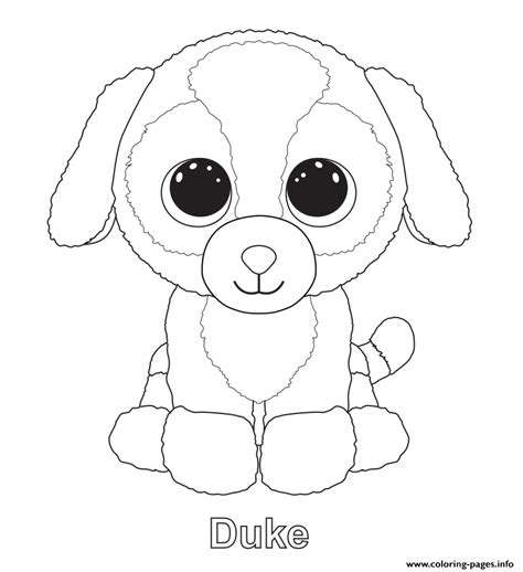 boo dog coloring page print duke beanie boo coloring pages pinteres