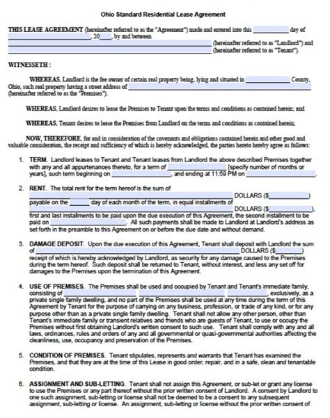 printable lease agreement ohio free ohio residential lease agreement pdf word doc
