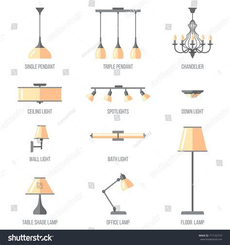 indoor lighting fixtures classifications part two vector set named indoor lighting types stock vector
