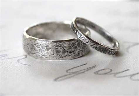Handmade Wedding Ring Sets - rustic wedding band ring set custom recycled silver wedding
