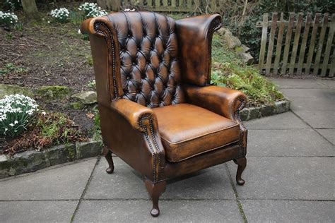 second hand armchairs uk thomas lloyd brown leather chesterfield wing back armchair
