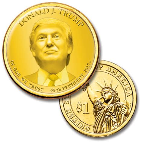 donald trump for president caign colorized presidential dollar with golden hue donald