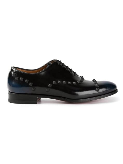 valentino rockstud derby shoes in black for lyst