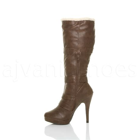 womens high heel buckle aviator shearling fur