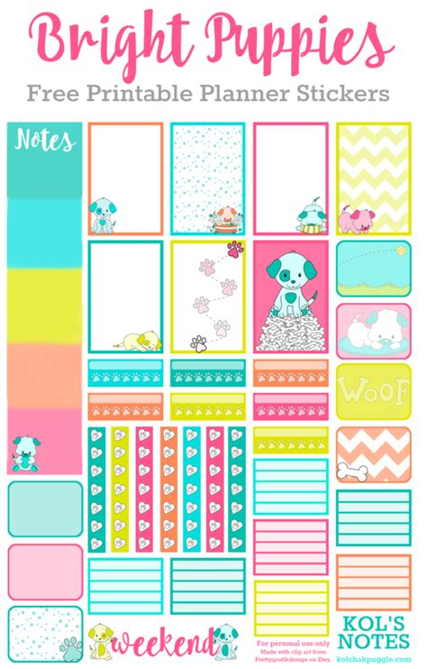 free printable planner set free printable planner sticker set bright puppies