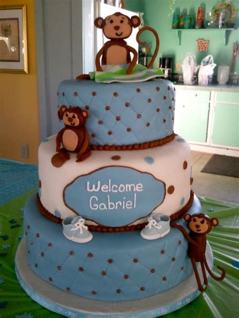 Boy Or Baby Shower Cake by Monkey Boy Baby Shower Cake Cakecentral