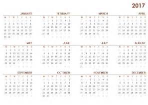 2017 printable calendar sheet